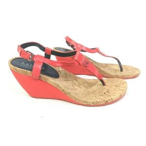 Lauren Ralph Lauren Wedge Thong Sandals Womens 10